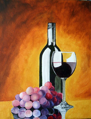 Wine Glass and grapes s